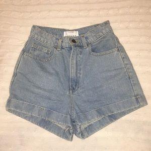 High Waisted Light Wash Denim Shorts